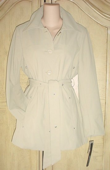 NWT LADIES BELTED TRENCH COAT Siena Studios Jacket  Size XL TAN