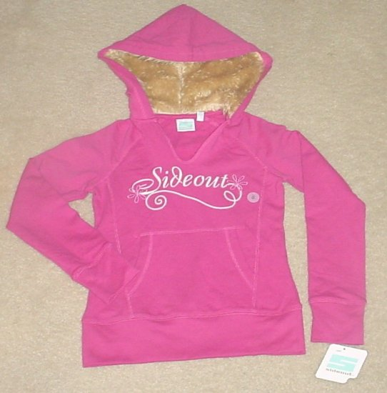 GIRLS Sideout FUR TRIM HOODIE Sweatshirt Top MEDIUM 10/12 PINK Cotton/Spandex