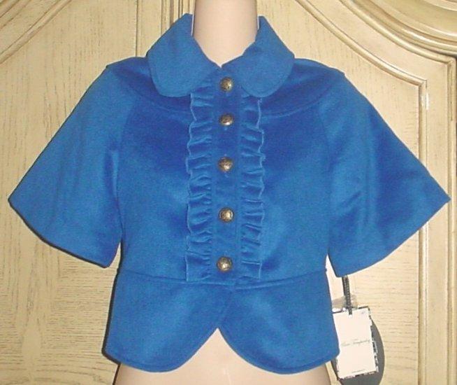 New ALICE TEMPERLEY London CROPPED BLAZER Jacket LARGE Cobalt Blue