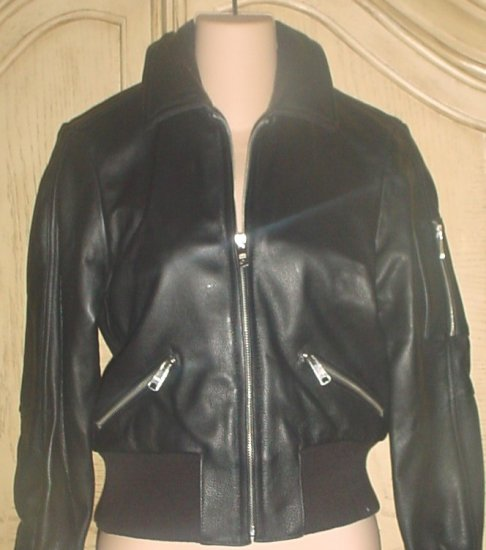 NWT Ladies PAUL & JOE LEATHER BOMBER JACKET XS BLACK