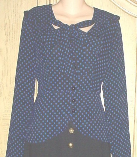 ALICE TEMPERLEY BLOUSE Polka Dot Scarf Tie Top MEDIUM