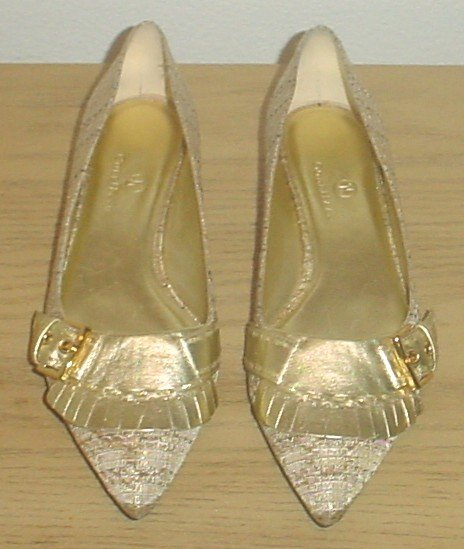 COLE HAAN KILTIE SKIMMER PUMPS Metallic Tweed Shoes 6M (36) GOLD