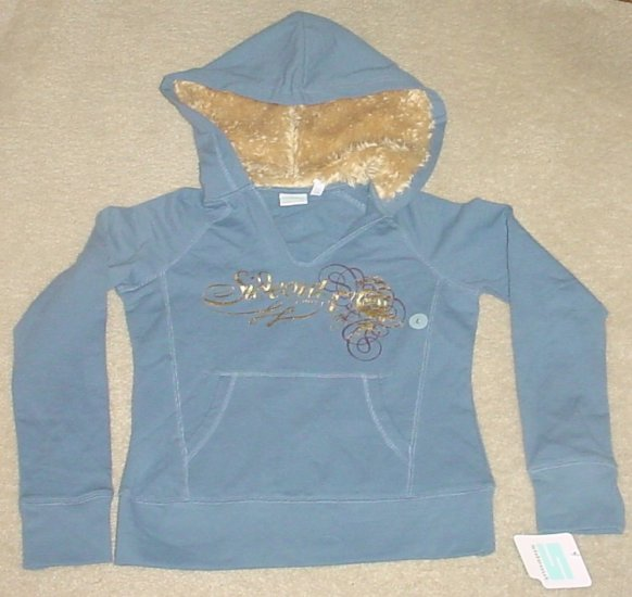 GIRLS Sideout FUR TRIM HOODIE Sweatshirt Top LARGE 14 BLUE Cotton/Spandex