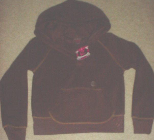GIRLS Ellemenno FLEECE HOODIE Pocket Sweatshirt Top SIZE 7/8  BROWN