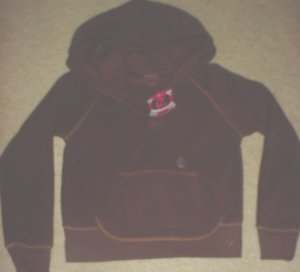 New GIRLS Ellemenno FLEECE HOODIE Pocket Sweatshirt Top SIZE 7/8  BROWN