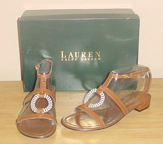 RALPH LAUREN GLADIATOR SANDALS Brielle Shoes 7M (37) LUGGAGE BROWN Lthr
