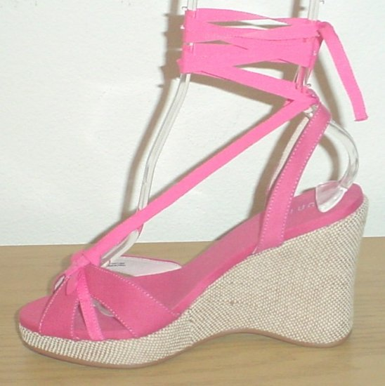 Unisa PLATFORM ESPADRILLES Ankle-Tie Wedge Sandals 6.5M  (36.5) HOT PINK Shoes