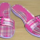 New KENNETH COLE SANDALS Silk Madras Slides 6M PINK Shoes