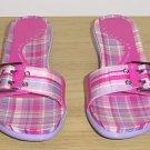 Kenneth Cole SANDALS Madras Plaid Slides 6.5M PINK Shoes