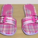 New KENNETH COLE SANDALS Madras Buckle Slide Shoes 9.5M PINK Plaid