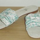 New TOMMY BAHAMA SANDALS Woven Slides Shoes 7M BLUE LEATHER