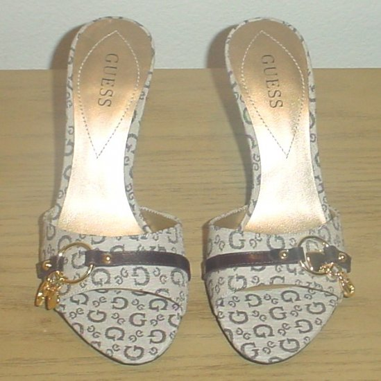 GUESS SIGNATURE SANDALS Slide Heels 10M TAN/BROWN Shoes