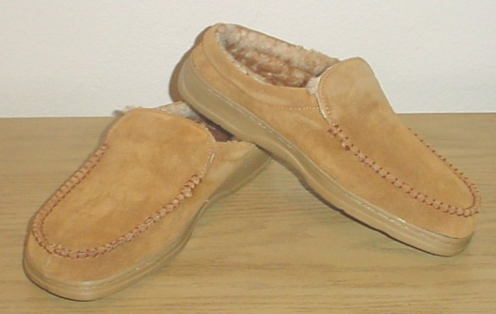 MENS High Sierra MOCASSIN SLIPPERS Plush Lined 10M CAMEL SUEDE