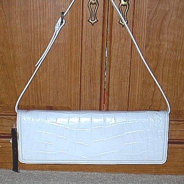 NICOLE MILLER Convertable SHOULDER BAG CLUTCH PURSE White Croc