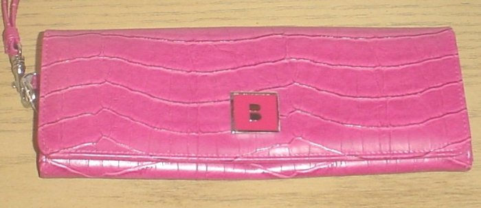 BUXTON WRISTLET CLUTCH PURSE Bag PINK CROC
