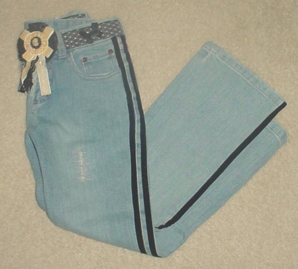 NWT GIRLS Mary-Kate and Ashley STRETCH JEANS SIZE 7 with Belt VELVET TRIM Pants