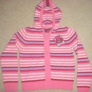 Girls STRIPED HOODED SWEATER Zip Front SIZE 6X PINK Multi