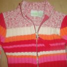 GIRLS Cherokee RIBBED CARDIGAN SWEATER Zip Front SIZE 4/5 RED Stripe