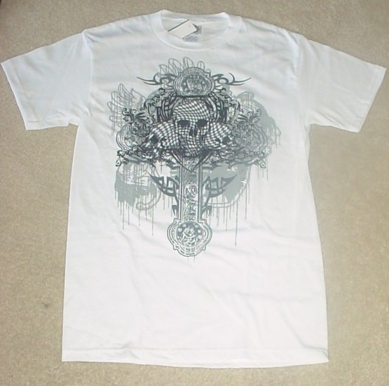 NEW Mens SKULL GRAPHIC T-SHIRT Short Sleeve Tee SMALL 100% Cotton WHITE