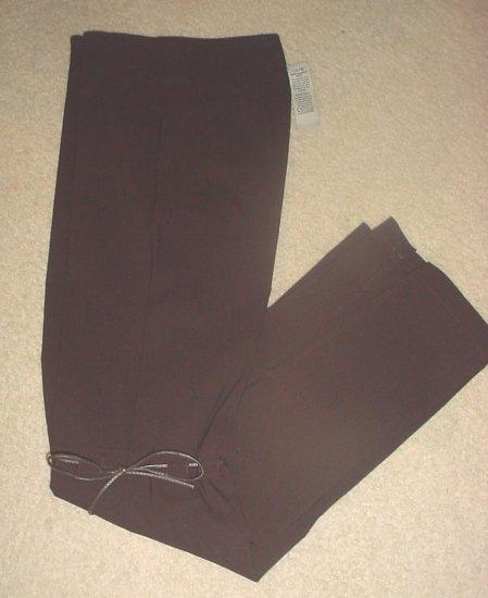 Ladies CACHE LEATHER TRIM PANTS Boot-Cut Dress Slacks SIZE 4 BROWN