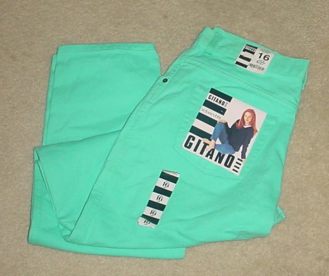 NWT Gitano COLORED JEANS Straight Leg Relaxed Fit Pant SIZE 16 TALL Aqua Blue