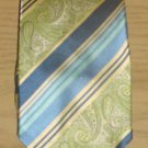 Mens SILVER LINKS TIE 100% SILK Necktie GREEN/BLUE PAISLEY