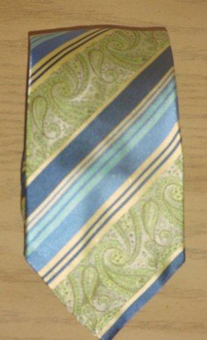NEW Mens SILVER LINKS TIE 100% SILK Necktie GREEN/BLUE PAISLEY