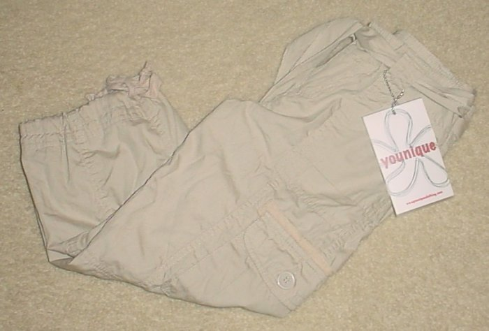 GIRLS Younique CROPPED CARGO PANTS Size 8 KHAKI TAN Cotton