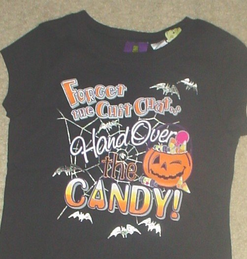 NWT Girls HALLOWEEN GRAPHIC T-SHIRT Top 7/8 BLACK Cotton