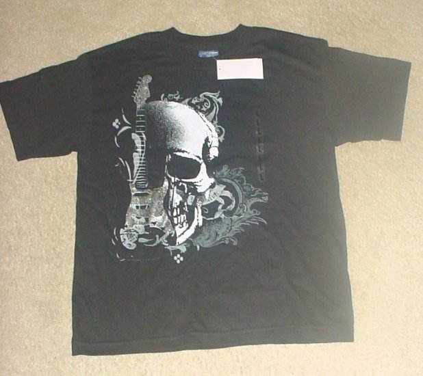NWT Boys SKULL/GUITAR GRAPHIC TEE Cotton T-Shirt 12/14 BLACK