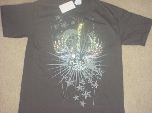 Boys METALLIC GUITAR GRAPHIC T-SHIRT Cotton Tee Large DARK GRAY
