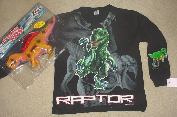 NWT Boys DINOSAUR GRAPHIC T-SHIRT Top w/FREE GROWLING RAPTOR TOY Size 6
