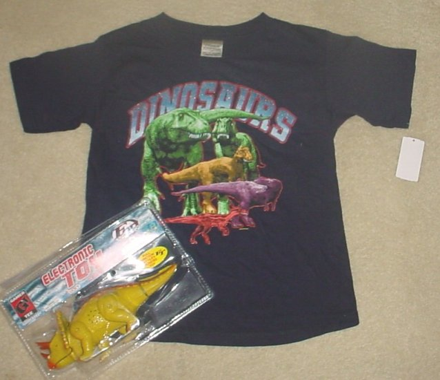 Boys DINOSAUR GRAPHIC T-SHIRT Top w/FREE DINO TOY Size 5/6 BLUE