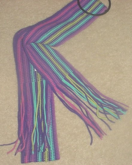 NEW Ladies FRINGED MUFFLER Neck Scarf One Size Fits All PURPLE STRIPES