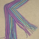 Ladies FRINGED MUFFLER Neck Scarf One Size Fits All PURPLE STRIPE
