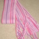 NEW Ladies FRINGED MUFFLER SCARF One Size Fits All PINK STRIPE