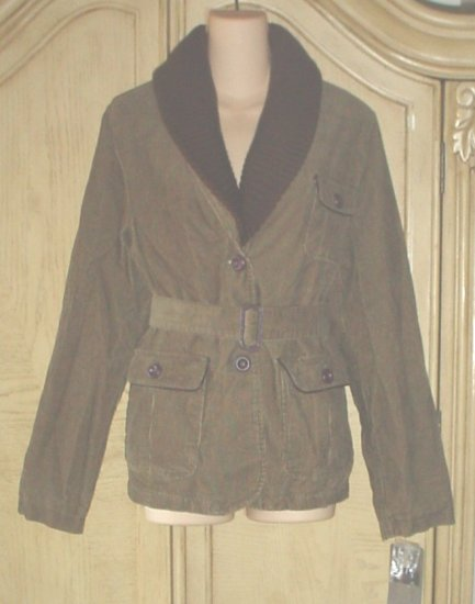 New WOMENS Merona BELTED CORD JACKET Large 12/14 OLIVE GREEN Removable Collar