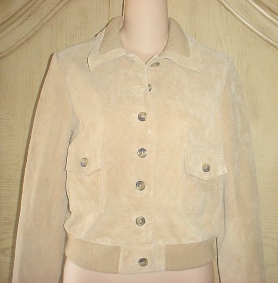Ladies ISAAC MIZRAHI GENUINE SUEDE BOMBER JACKET Small TAN
