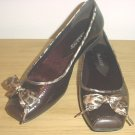 NEW Stuart Madeline BALLET FLATS Ladies Cap Toe Shoes SIZE 6.5M BROWN
