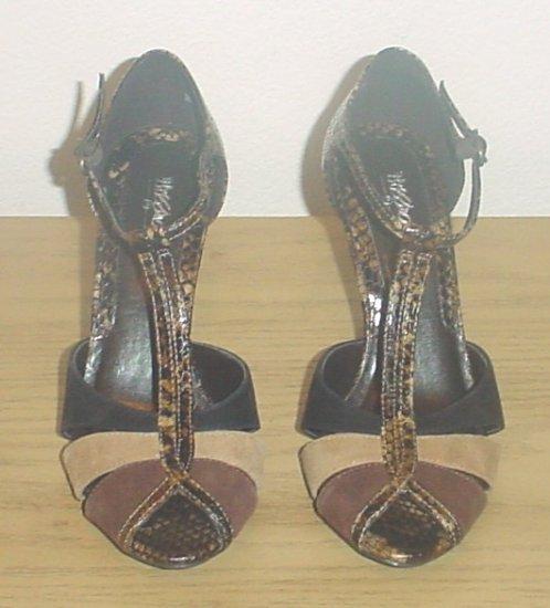 NIB Womens T-STRAP HEELS Peep Toe PUMPS Peace Shoes 9.5M SNAKE/SUEDE