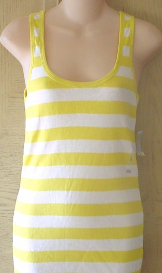 NWT Ladies OLD NAVY TANK TOP Long Layering Tee YELLOW STRIPED Large 12/14
