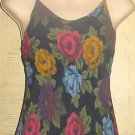BETSEY JOHNSON MAXI DRESS Ladies Sundress Medium BLACK FLORAL PRINT