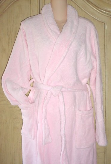Ladies PLUSH SPA BATH ROBE One Size Fits All PINK with Pockets