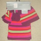 NEW Girls 3 PIECE KNIT MUFFLER SET Scarf, Gloves and Hat PURPLE STRIPE One Size