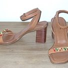 Unisa BEADED SANDALS Stacked Heels 7.5M DARK TAN Leather Shoes