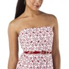 Jean Paul Gaultier STRAPLESS DRESS Size 7 RED/WHITE Fitted  Belted Sheath