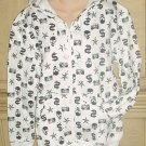 NEW Ladies SKULL GRAPHIC HOODIE SWEATSHIRT Medium 8/10 BLACK/WHITE
