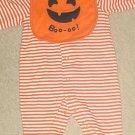 Carters HALLOWEEN ONESIE with PUMPKIN BIB Infant 2 Piece Set 6-9 MONTHS Orange Stripe
