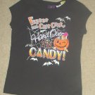 Girls HALLOWEEN TEE Graphic 'Hand Over the Candy' Top SIZE 7/8 BLACK