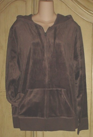 NEW Womens OLD NAVY VELOUR HOODIE Jacket XXL (20) BROWN